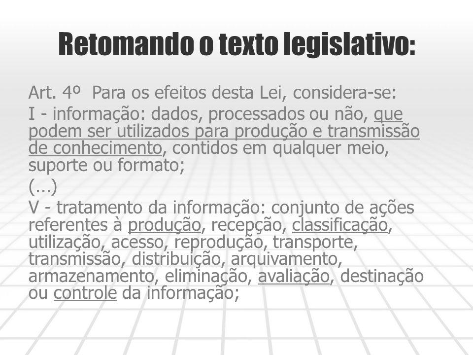 Retomando o texto legislativo: Art.