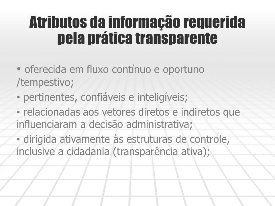 Atributos da informação requerida pela prática transparente oferecida em fluxo contínuo e oportuno /tempestivo; pertinentes, confiáveis e inteligíveis; relacionadas aos vetores diretos e indiretos que influenciaram a decisão administrativa; dirigida ativamente às estruturas de controle, inclusive a cidadania (transparência ativa);