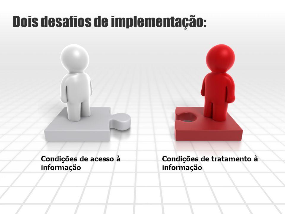 Condições de acesso à informação Condições de tratamento à informação Dois desafios de implementação: