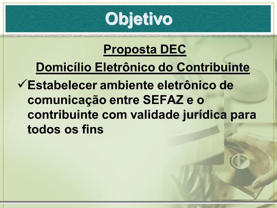 Premissas Proposta DEC Domicílio Tributário Eletrônico hospedado no site da SEFAZ Canal de Comunicação em duas vias Baseado no Uso da Certificação Digital de forma gradual Validade Jurídica dos Atos Eletrônicos praticados pela SEFAZ e Contribuinte Governabilidade da SEFAZ sobre o Ambiente