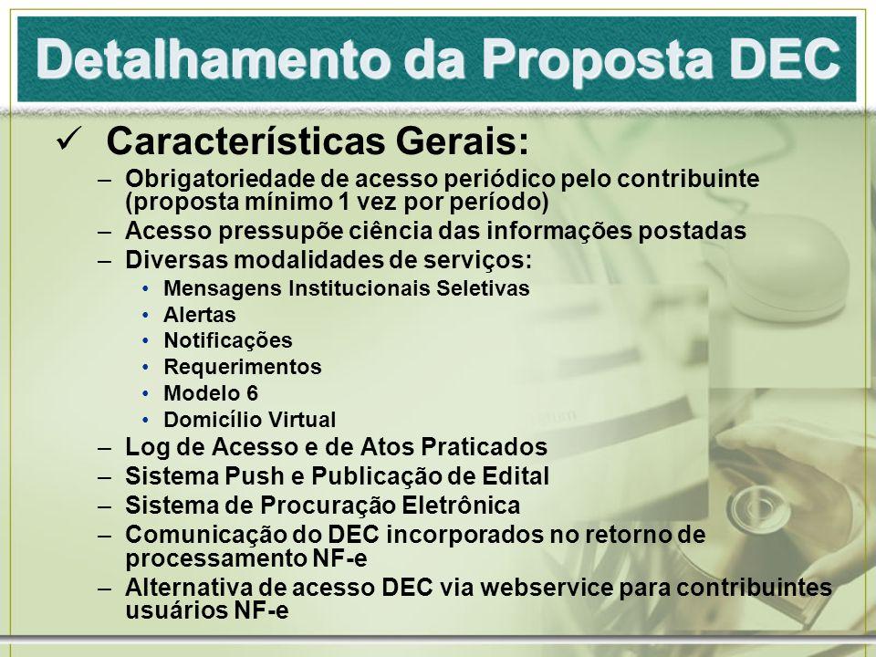 Detalhamento da Proposta DEC Características Gerais: –Obrigatoriedade de acesso periódico pelo contribuinte (proposta mínimo 1 vez por período) –Acess