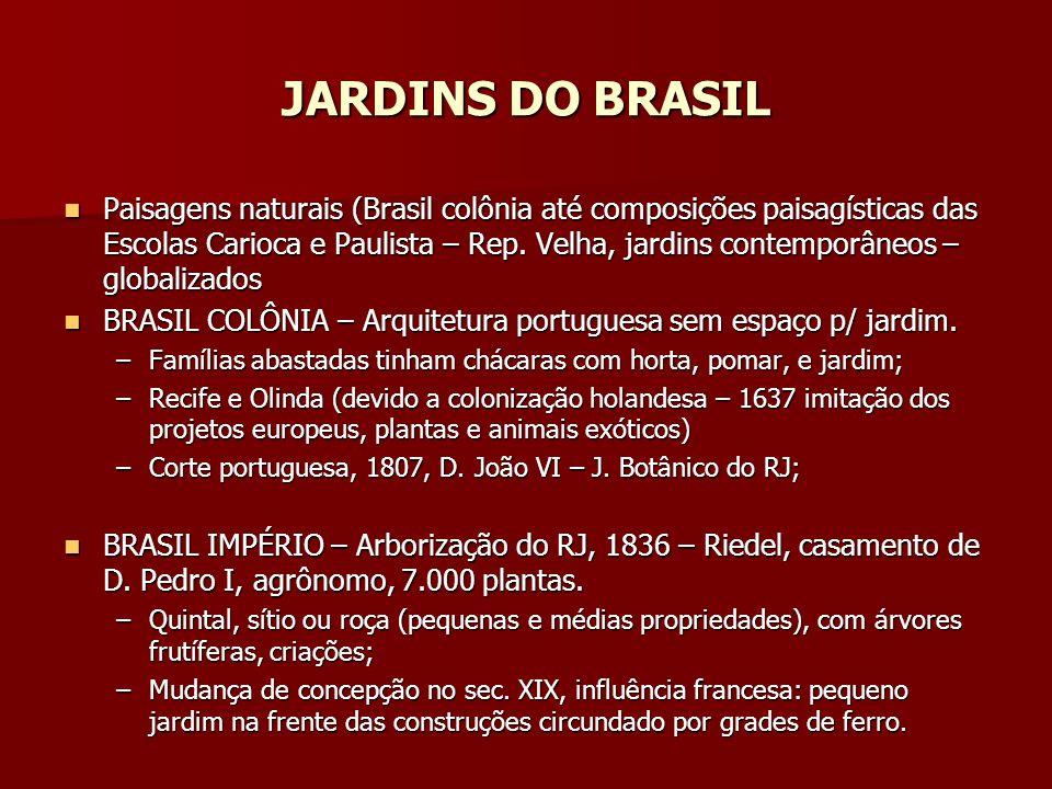 JARDINS DO BRASIL Paisagens naturais (Brasil colônia até composições paisagísticas das Escolas Carioca e Paulista – Rep.