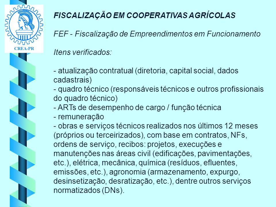 FISCALIZAÇÃO EM COOPERATIVAS AGRÍCOLAS FEF - Fiscalização de Empreendimentos em Funcionamento Itens verificados: - atualização contratual (diretoria,