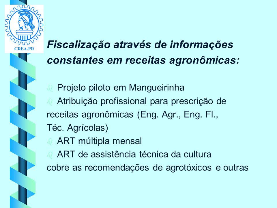 Fiscalização através de informações constantes em receitas agronômicas: b b Projeto piloto em Mangueirinha b b Atribuição profissional para prescrição
