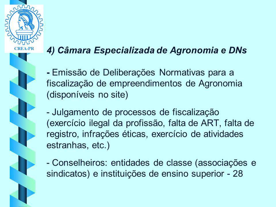4) Câmara Especializada de Agronomia e DNs - Emissão de Deliberações Normativas para a fiscalização de empreendimentos de Agronomia (disponíveis no si