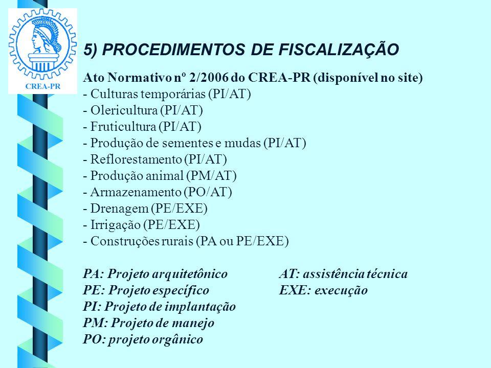 5) PROCEDIMENTOS DE FISCALIZAÇÃO Ato Normativo nº 2/2006 do CREA-PR (disponível no site) - Culturas temporárias (PI/AT) - Olericultura (PI/AT) - Fruti