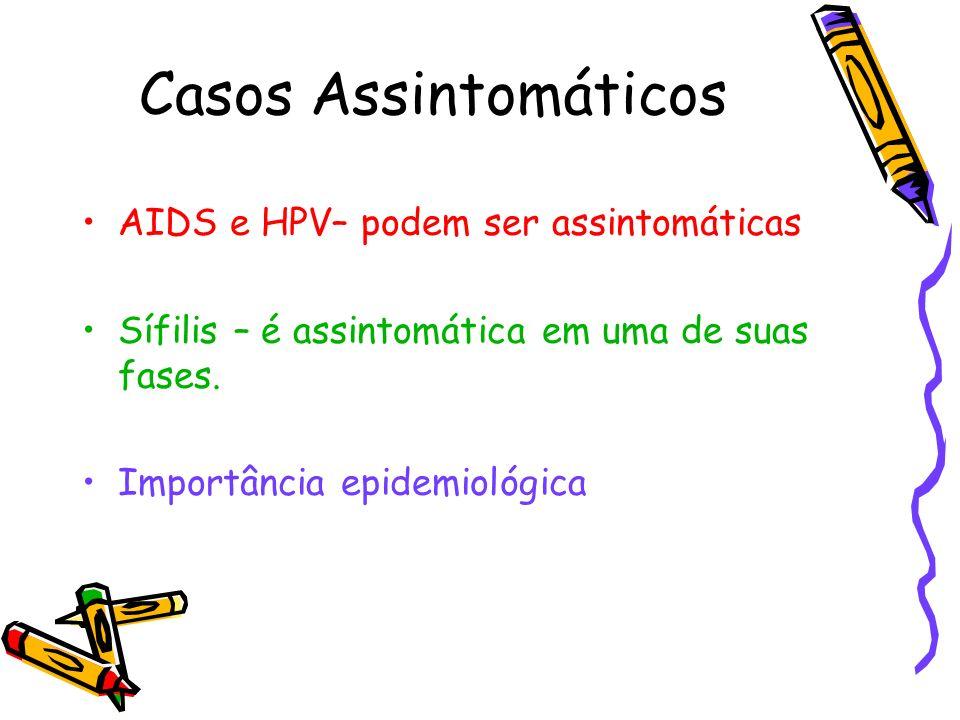 Casos Assintomáticos AIDS e HPV– podem ser assintomáticas Sífilis – é assintomática em uma de suas fases. Importância epidemiológica