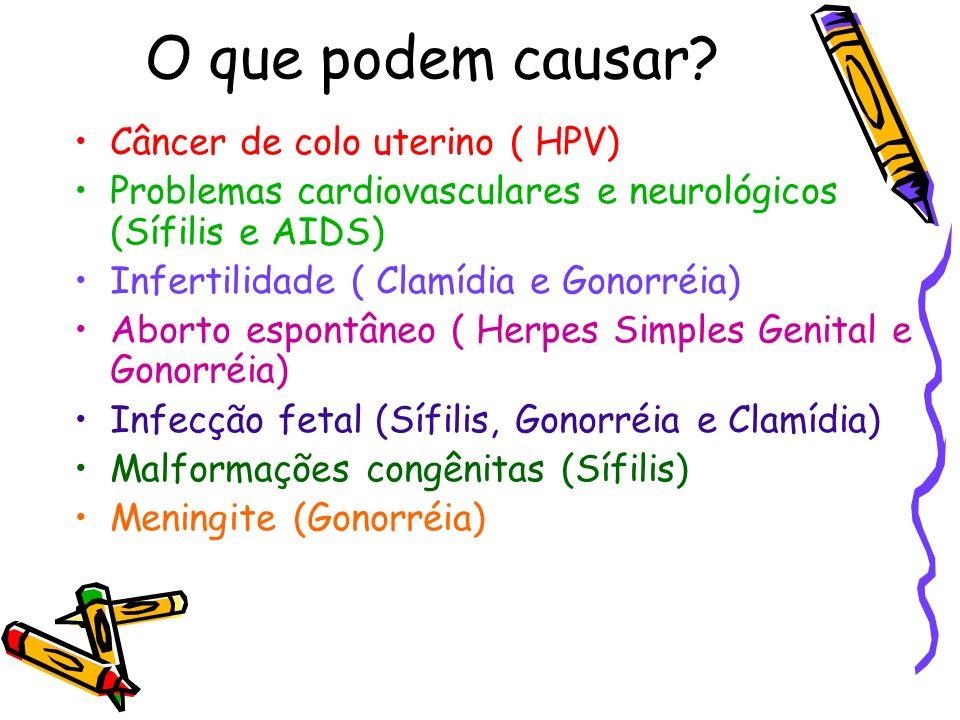 O que podem causar? Câncer de colo uterino ( HPV) Problemas cardiovasculares e neurológicos (Sífilis e AIDS) Infertilidade ( Clamídia e Gonorréia) Abo
