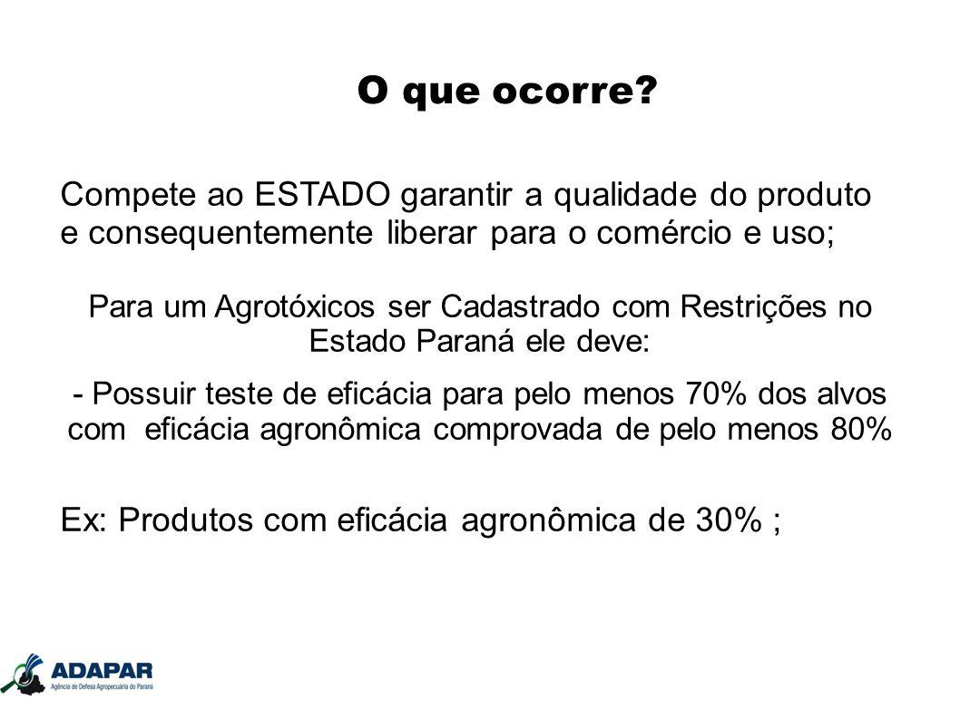 O que ocorre? Compete ao ESTADO garantir a qualidade do produto e consequentemente liberar para o comércio e uso; Para um Agrotóxicos ser Cadastrado c