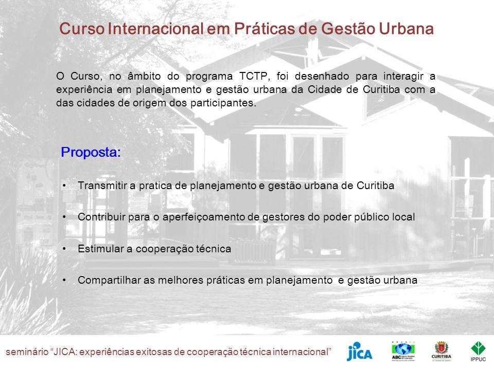 seminário JICA: experiências exitosas de cooperação técnica internacional Curso Internacional em Práticas de Gestão Urbana O Curso, no âmbito do progr