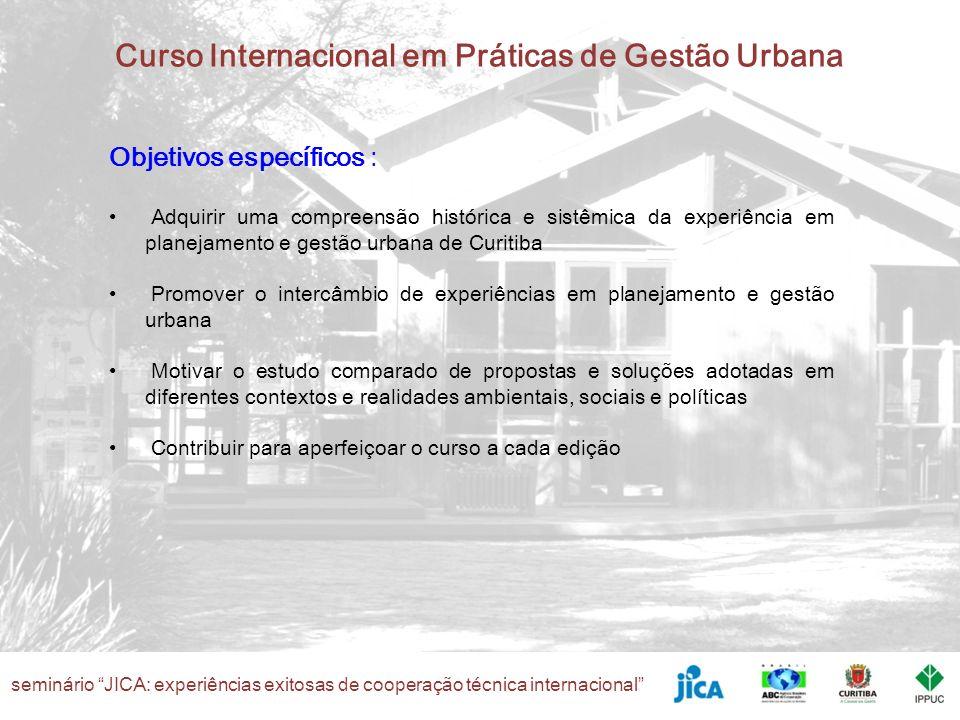 seminário JICA: experiências exitosas de cooperação técnica internacional Curso Internacional em Práticas de Gestão Urbana Objetivos específicos : Adq