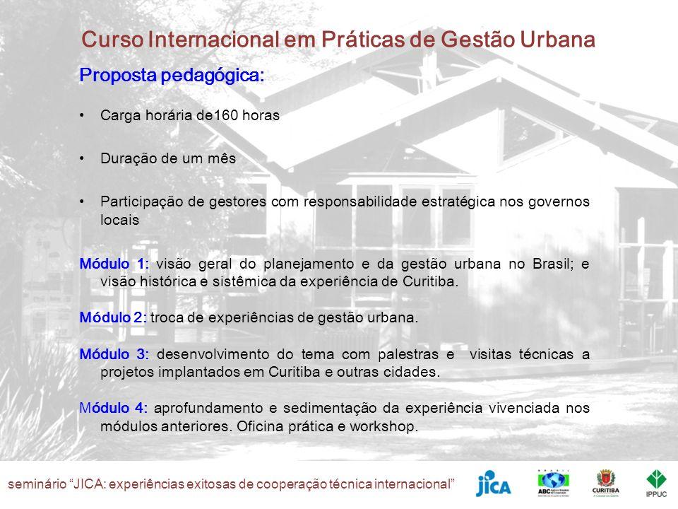 seminário JICA: experiências exitosas de cooperação técnica internacional Curso Internacional em Práticas de Gestão Urbana Desafios Uma instituição governamental e não acadêmica é responsável pela coordenação do curso - IPPUC Temas diferentes a cada edição – acompanhamento da evolução dos instrumentos e práticas de planejamento e gestão urbana I TCTP - Planejamento e Gestão Urbana (2007) II TCTP - Mobilidade Urbana (2007) III TCTP - Questões Ambientais Urbanas (2008) IV TCTP – Programas e Projetos de Caráter Participativo (2009) V TCTP – Sistemas de Informação (2010)