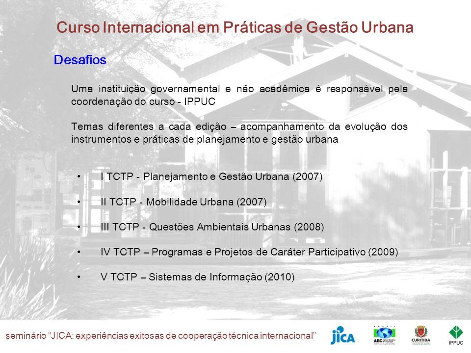seminário JICA: experiências exitosas de cooperação técnica internacional Curso Internacional em Práticas de Gestão Urbana Desafios Uma instituição go