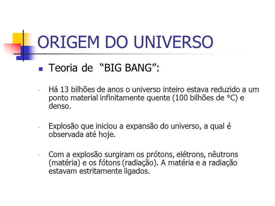 ORIGEM DO UNIVERSO Teoria de BIG BANG: - Há 13 bilhões de anos o universo inteiro estava reduzido a um ponto material infinitamente quente (100 bilhões de °C) e denso.