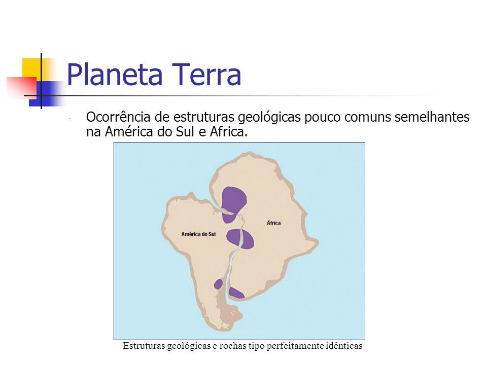 Planeta Terra - Ocorrência de estruturas geológicas pouco comuns semelhantes na América do Sul e Africa. Estruturas geológicas e rochas tipo perfeitam