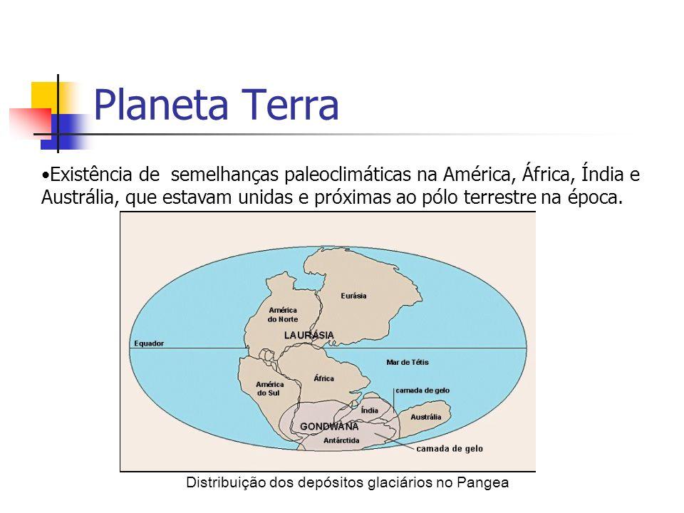 Planeta Terra Existência de semelhanças paleoclimáticas na América, África, Índia e Austrália, que estavam unidas e próximas ao pólo terrestre na época.
