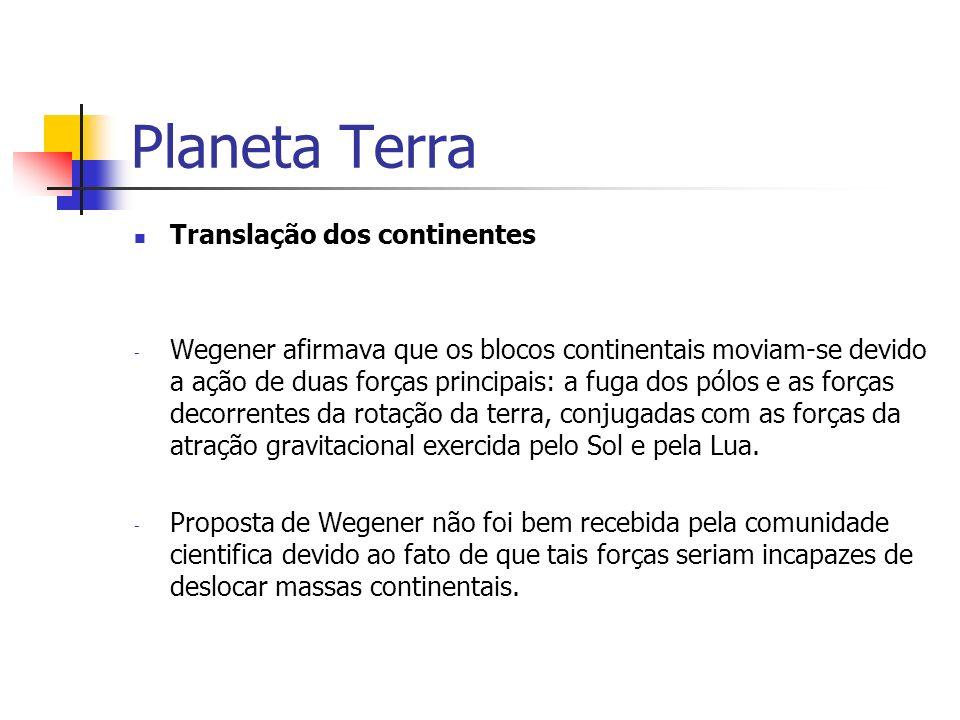 Planeta Terra Translação dos continentes - Wegener afirmava que os blocos continentais moviam-se devido a ação de duas forças principais: a fuga dos p