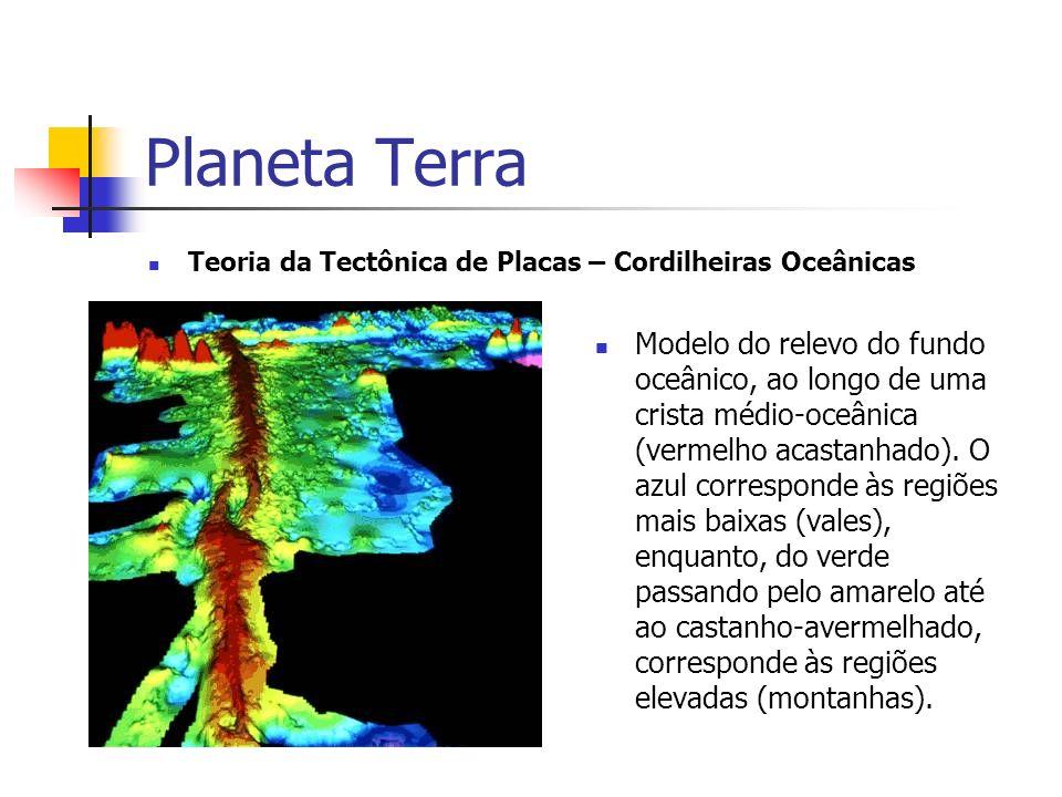 Planeta Terra Teoria da Tectônica de Placas – Cordilheiras Oceânicas Modelo do relevo do fundo oceânico, ao longo de uma crista médio-oceânica (vermelho acastanhado).