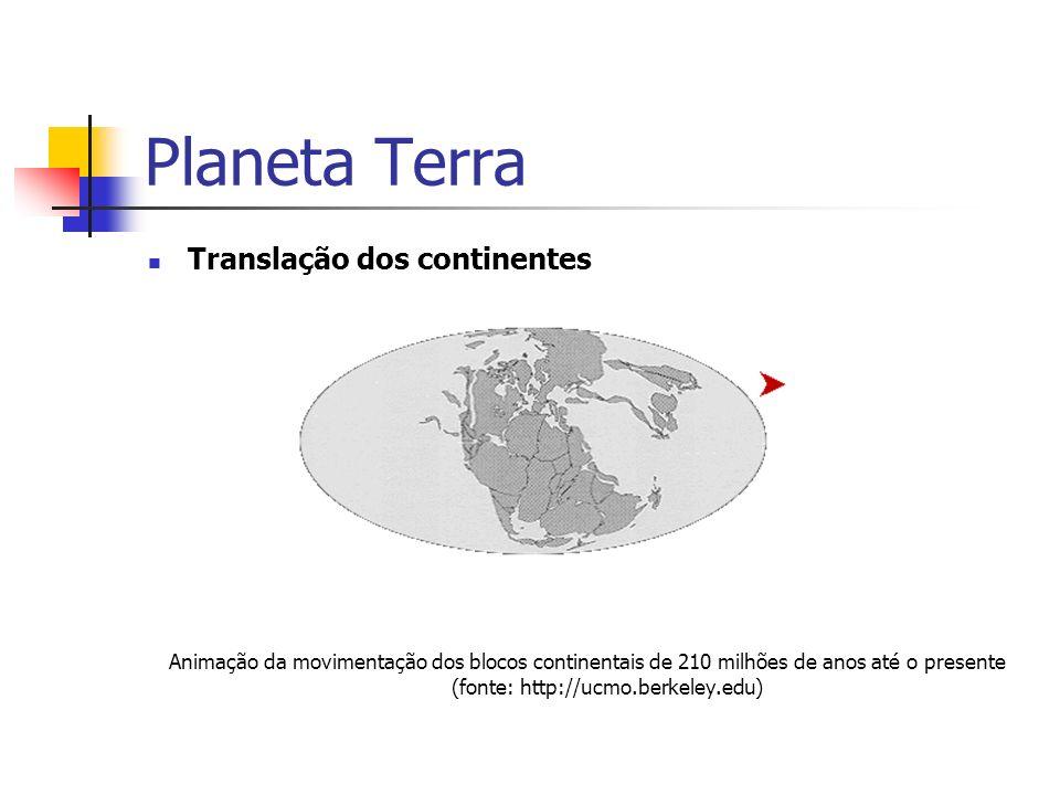 Planeta Terra Translação dos continentes Animação da movimentação dos blocos continentais de 210 milhões de anos até o presente (fonte: http://ucmo.berkeley.edu)