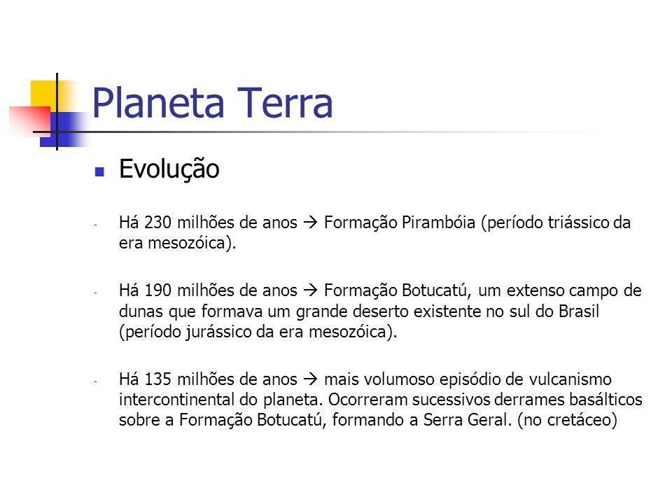 Planeta Terra Evolução - Há 230 milhões de anos Formação Pirambóia (período triássico da era mesozóica). - Há 190 milhões de anos Formação Botucatú, u