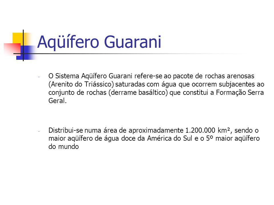 Aqüífero Guarani - O Sistema Aqüífero Guarani refere-se ao pacote de rochas arenosas (Arenito do Triássico) saturadas com água que ocorrem subjacentes ao conjunto de rochas (derrame basáltico) que constitui a Formação Serra Geral.