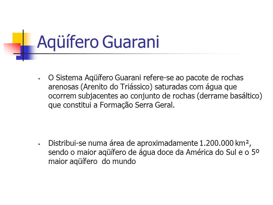 Aqüífero Guarani O Sistema Aqüífero Guarani refere-se ao pacote de rochas arenosas (Arenito do Triássico) saturadas com água que ocorrem subjacentes ao conjunto de rochas (derrame basáltico) que constitui a Formação Serra Geral.