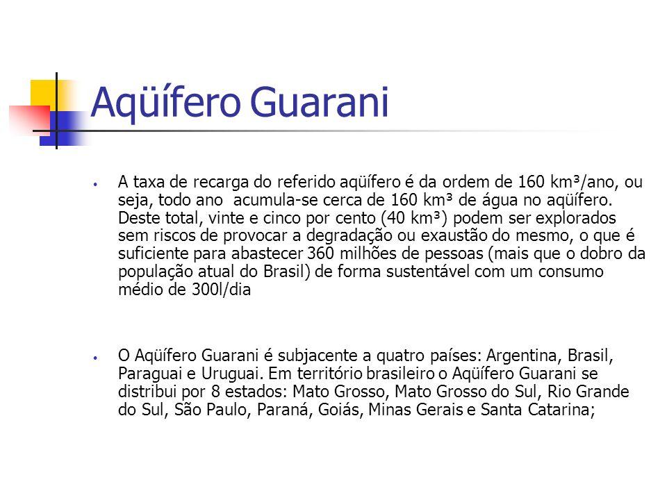 Aqüífero Guarani A taxa de recarga do referido aqüífero é da ordem de 160 km³/ano, ou seja, todo ano acumula-se cerca de 160 km³ de água no aqüífero.