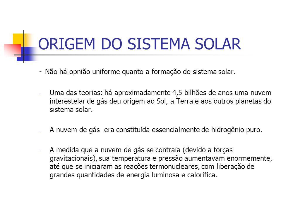 ORIGEM DO SISTEMA SOLAR - Não há opnião uniforme quanto a formação do sistema solar. - Uma das teorias: há aproximadamente 4,5 bilhões de anos uma nuv
