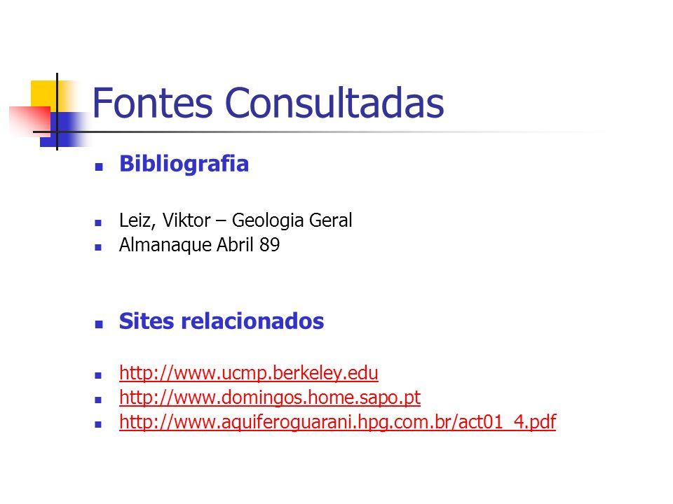 Fontes Consultadas Bibliografia Leiz, Viktor – Geologia Geral Almanaque Abril 89 Sites relacionados http://www.ucmp.berkeley.edu http://www.domingos.h