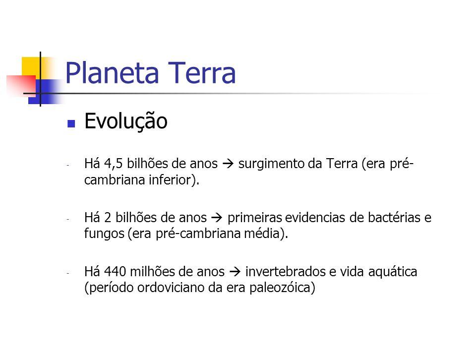 Planeta Terra Evolução - Há 4,5 bilhões de anos surgimento da Terra (era pré- cambriana inferior). - Há 2 bilhões de anos primeiras evidencias de bact
