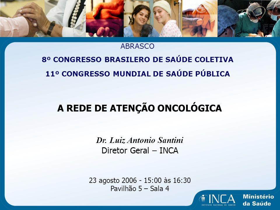 ABRASCO 8º CONGRESSO BRASILERO DE SAÚDE COLETIVA 11º CONGRESSO MUNDIAL DE SAÚDE PÚBLICA A REDE DE ATENÇÃO ONCOLÓGICA Dr. Luiz Antonio Santini Diretor