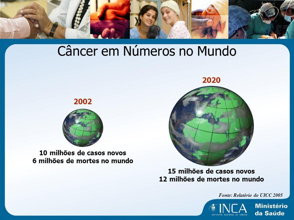 Câncer em Números no Mundo Fonte: Relatório do UICC 2005 2002 10 milhões de casos novos 6 milhões de mortes no mundo 2020 15 milhões de casos novos 12