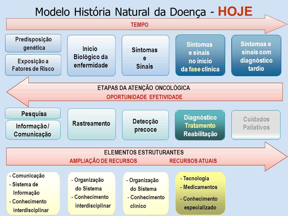 Modelo História Natural da Doença - HOJE ETAPAS DA ATENÇÃO ONCOLÓGICA OPORTUNIDADE EFETIVIDADE TEMPO ELEMENTOS ESTRUTURANTES AMPLIAÇÃO DE RECURSOS REC