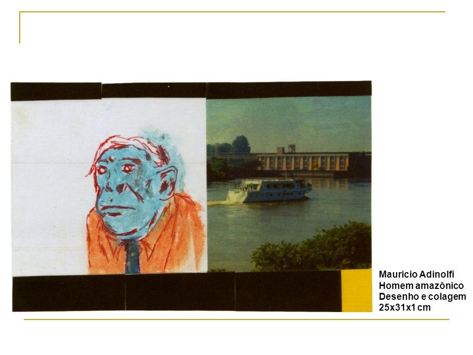 Mauricio Adinolfi Homem amazônico Desenho e colagem 25x31x1 cm