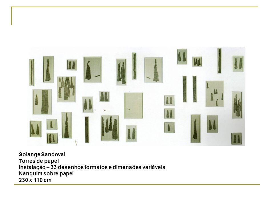 Solange Sandoval Torres de papel Instalação – 33 desenhos formatos e dimensões variáveis Nanquim sobre papel 230 x 110 cm