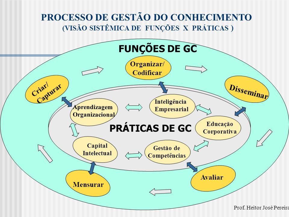FUNÇÕES DE GC Criar/ Capturar Organizar/ Codificar Disseminar Avaliar Mensurar PROCESSO DE GESTÃO DO CONHECIMENTO (VISÃO SISTÊMICA DE FUNÇÕES X PRÁTIC