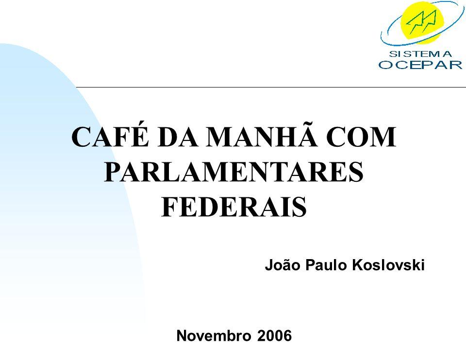Novembro 2006 CAFÉ DA MANHÃ COM PARLAMENTARES FEDERAIS João Paulo Koslovski