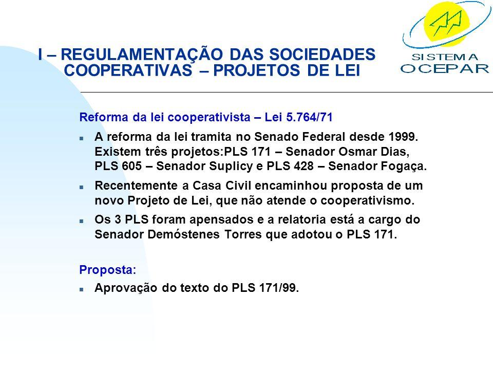 I – REGULAMENTAÇÃO DAS SOCIEDADES COOPERATIVAS – PROJETOS DE LEI Reforma da lei cooperativista – Lei 5.764/71 n A reforma da lei tramita no Senado Fed