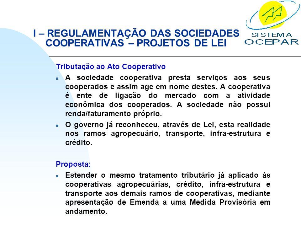 I – REGULAMENTAÇÃO DAS SOCIEDADES COOPERATIVAS – PROJETOS DE LEI Tributação ao Ato Cooperativo n A sociedade cooperativa presta serviços aos seus coop