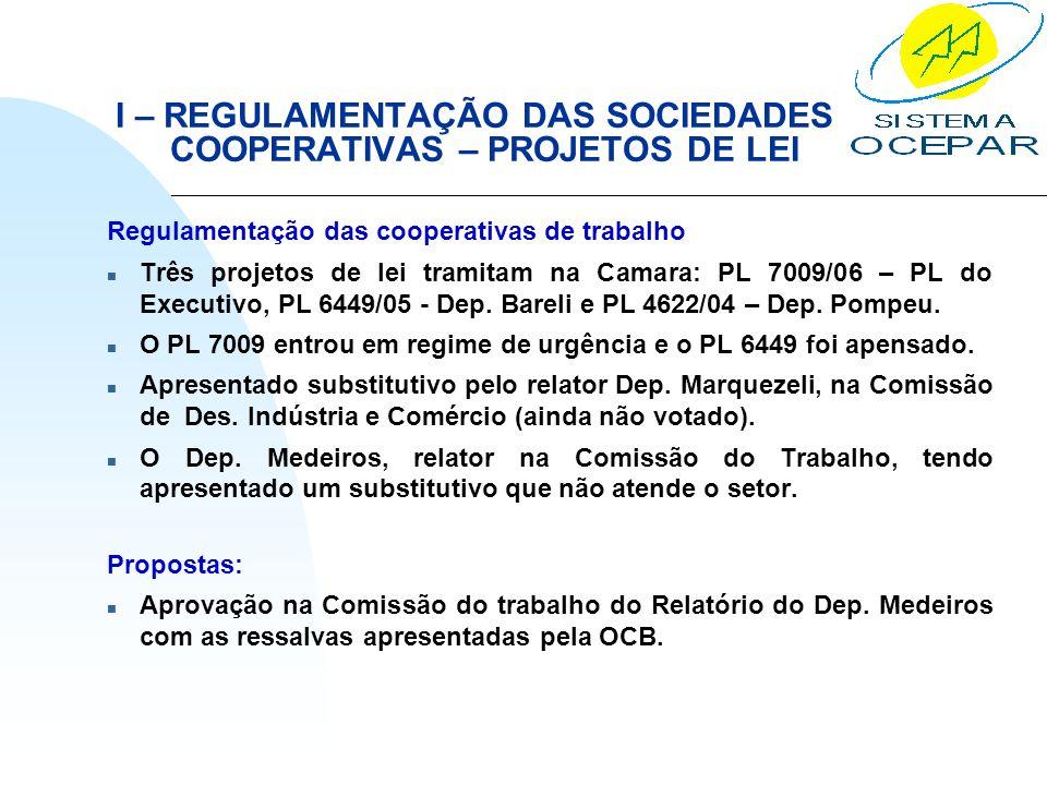 I – REGULAMENTAÇÃO DAS SOCIEDADES COOPERATIVAS – PROJETOS DE LEI Regulamentação das cooperativas de trabalho n Três projetos de lei tramitam na Camara