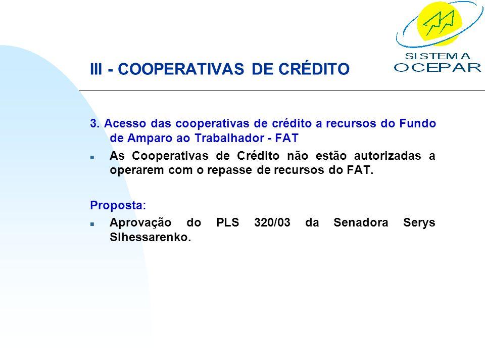 III - COOPERATIVAS DE CRÉDITO 3. Acesso das cooperativas de crédito a recursos do Fundo de Amparo ao Trabalhador - FAT n As Cooperativas de Crédito nã