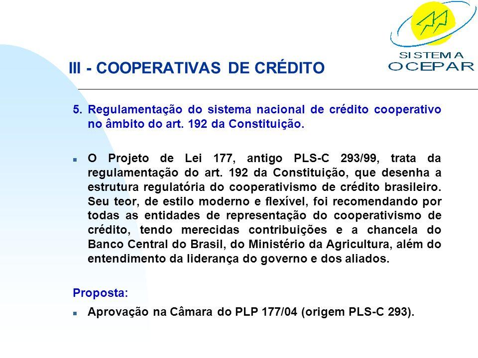 III - COOPERATIVAS DE CRÉDITO 5. Regulamentação do sistema nacional de crédito cooperativo no âmbito do art. 192 da Constituição. n O Projeto de Lei 1