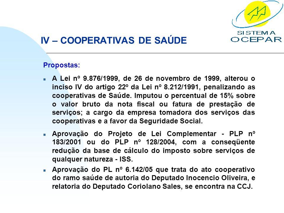 IV – COOPERATIVAS DE SAÚDE Propostas: n A Lei nº 9.876/1999, de 26 de novembro de 1999, alterou o inciso IV do artigo 22º da Lei nº 8.212/1991, penali