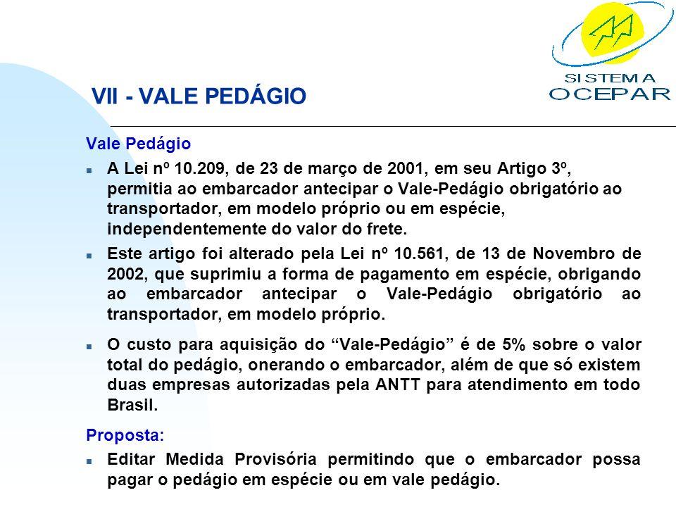 VII - VALE PEDÁGIO Vale Pedágio n A Lei nº 10.209, de 23 de março de 2001, em seu Artigo 3º, permitia ao embarcador antecipar o Vale-Pedágio obrigatór