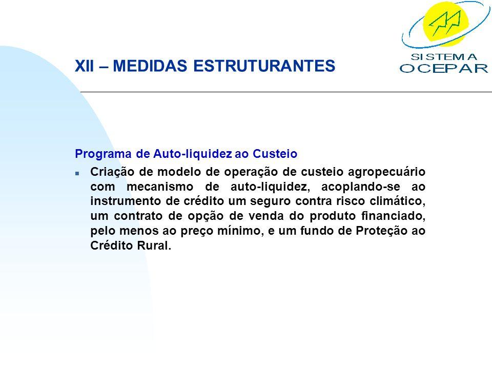 XII – MEDIDAS ESTRUTURANTES Programa de Auto-liquidez ao Custeio n Criação de modelo de operação de custeio agropecuário com mecanismo de auto-liquide