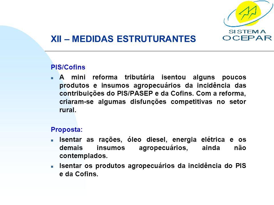 XII – MEDIDAS ESTRUTURANTES PIS/Cofins n A mini reforma tributária isentou alguns poucos produtos e insumos agropecuários da incidência das contribuiç