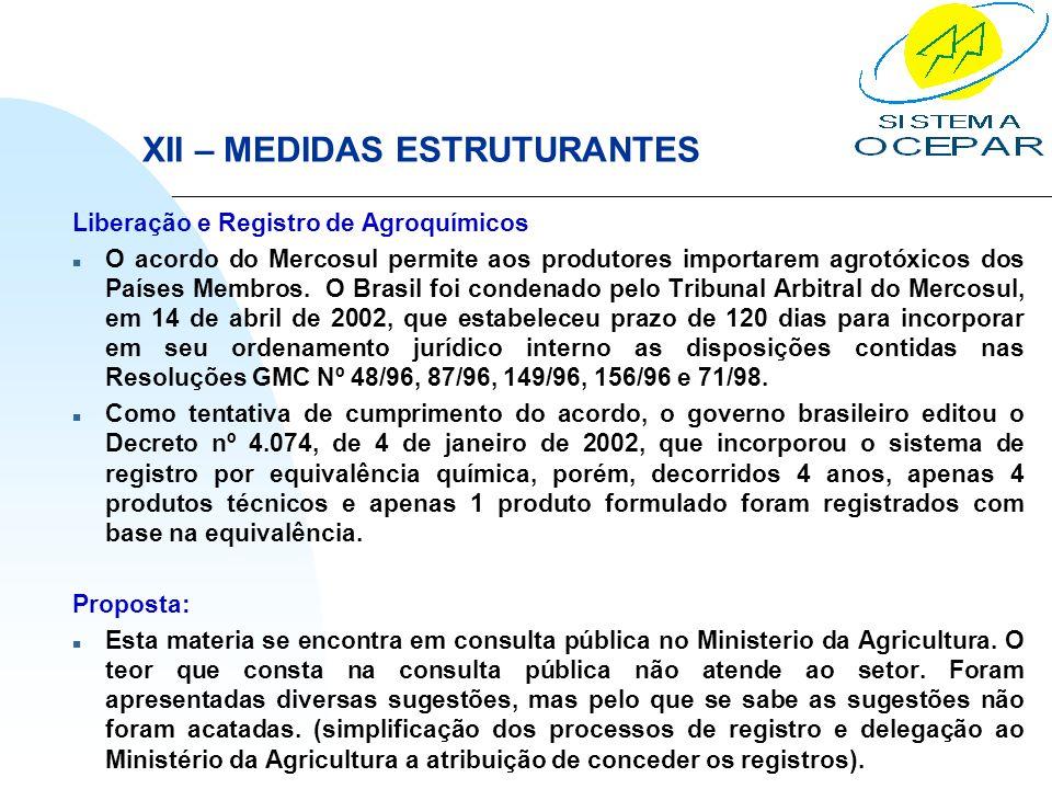 XII – MEDIDAS ESTRUTURANTES Liberação e Registro de Agroquímicos n O acordo do Mercosul permite aos produtores importarem agrotóxicos dos Países Membr