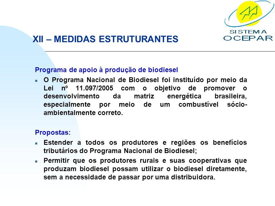 XII – MEDIDAS ESTRUTURANTES Programa de apoio à produção de biodiesel n O Programa Nacional de Biodiesel foi instituído por meio da Lei nº 11.097/2005