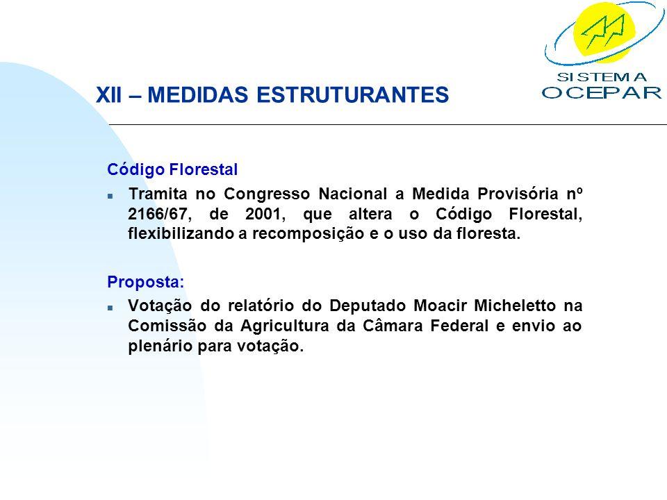 XII – MEDIDAS ESTRUTURANTES Código Florestal n Tramita no Congresso Nacional a Medida Provisória nº 2166/67, de 2001, que altera o Código Florestal, f