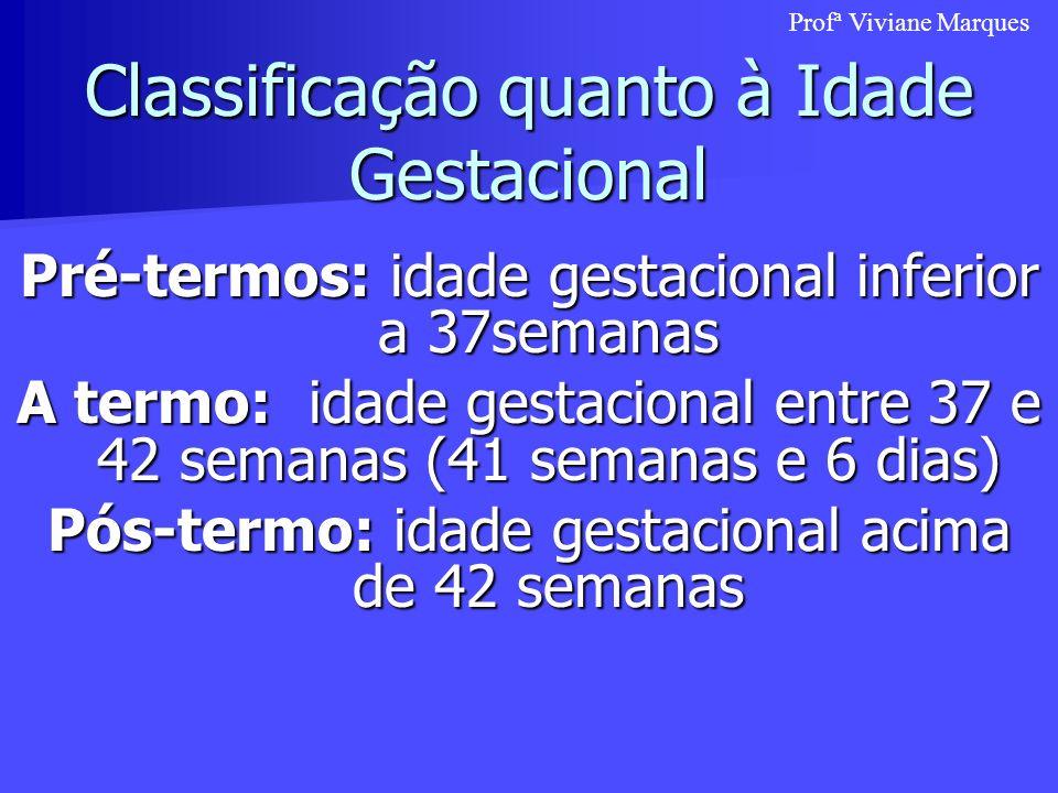 Classificação quanto à Idade Gestacional Pré-termos: idade gestacional inferior a 37semanas A termo: idade gestacional entre 37 e 42 semanas (41 seman